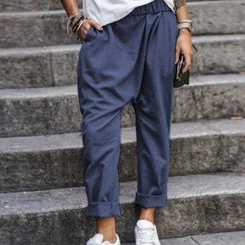 5XL Plus Size Harem Pants Solid Loose Cotton Linen Pants Pockets Casual Elastic Waist Female Clothes Summer Vintage Bottom 1