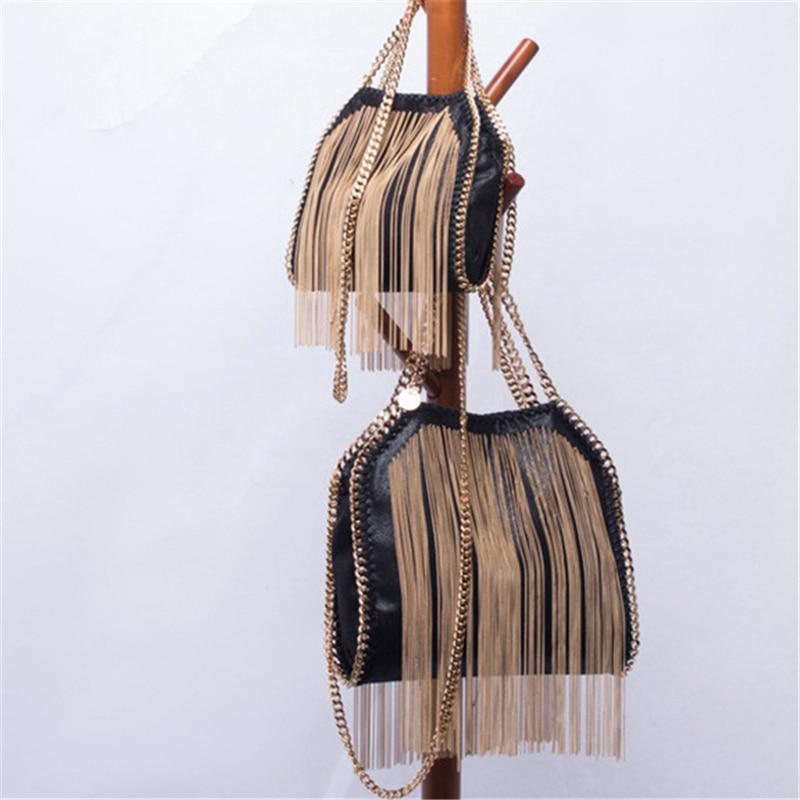 Femmes sacs à bandoulière gland fourre-tout noir de luxe femmes Zip cuir Punk sacs à main en métal chaîne sacs dames petits sacs à bandoulière