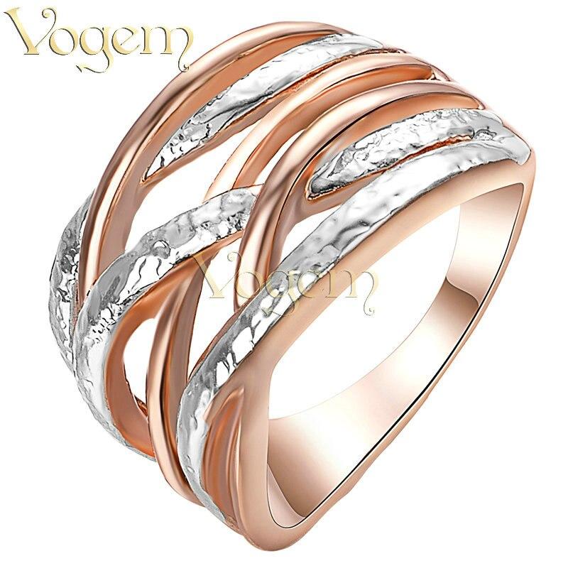 VOGEM X Design Double Cross Ring Rose Gold Pating Girlfriend ...