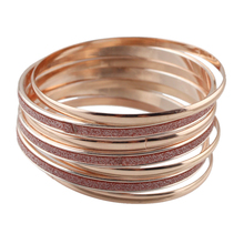 7pcs/set New Arrival Indian Jewelry Big Circle Rosegold Bangles sets Boho Bracelets For Women Famous Brand Jewelry