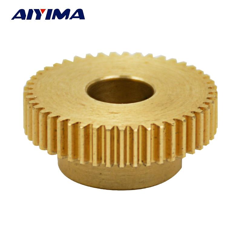 цена на Aiyima 1PC 0.5 Modulus 45 Teeth Brass Gear for Servo Gear Steering Remote Control Model 3D Printer Extrusion Wheel