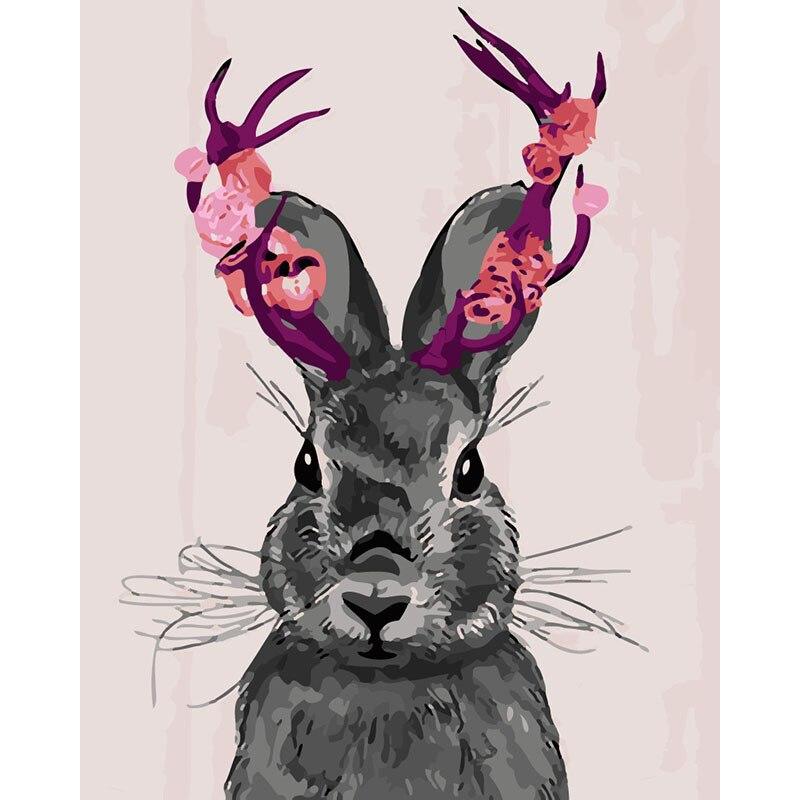 Pintura por números diy dropshipping 40x50 50x65cm ficar bonito flor coelho animal lona decoração do casamento arte imagem presente