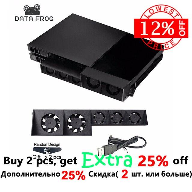 Para PS4 ventilador de refrigeración enfriador externo ventilador para Sony Playstation 4 PS4 Turbo Control de temperatura cinco ventiladores USB Cable gratis