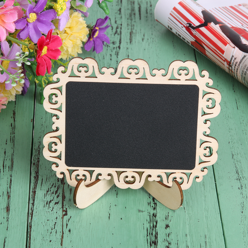 10Pcs Mini Blackboard for Message Board Signs Parties Decorative Pattern Wooden Wood Chalkboard Blackboard On Stick Stand Holder