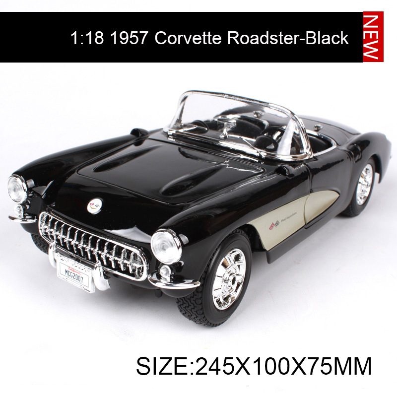 цена на 1:18 diecast Car Chevy 1957 Corvette Roadster Muscle Cars 1:18 Alloy Car Metal Vehicle Collectible Models toys For Gift