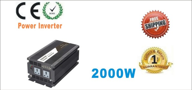 2000W 2000VA PURE SINE WAVE INVERTER (12V 24V DC 220VAC 230VAC 4000W 4KW PEAKING) Door to Door Free Shipping Adaptor