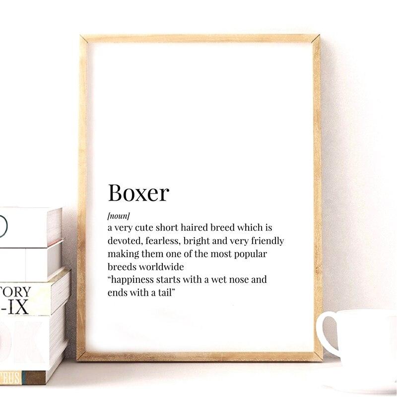 Wall Art Poster Boxer Dog Definition Print Dog Minimalist Poster Home Decor