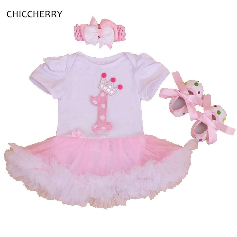 Crown Baby 1st Birthday Tutu Toddler Girl Outfits Lace Romper Dress Crib Shoes Headband Clothing Set Tutu Children Girls 3 Piece