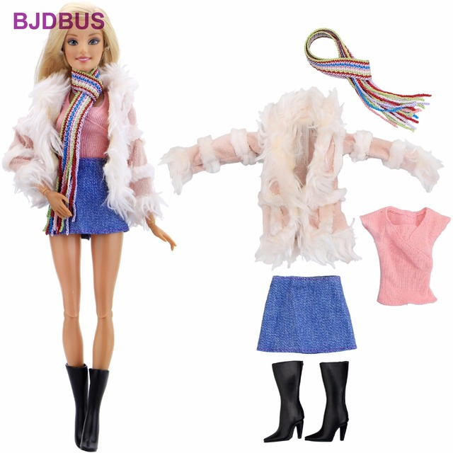 36d8826bf136 Fashion Winter Outfit Pink Fur Coat Tops Denim Skirt Rainbow Scarf Boots  Shoes Clothes For Barbie