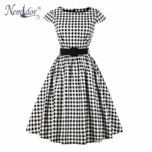 Nemidor Frauen Vintage Dot Belted Kurzarm Rockabilly Kleid Casual Patchwork 1950  s Party Schaukel A-