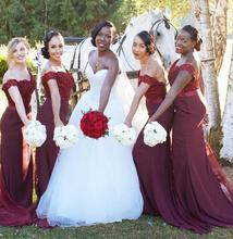 HQ Sexy Weinrot African Brautjungfern Kleider Weg Von der Schulter perlen Spitze Top Mermaid Abendkleid vestido de festa de casamento