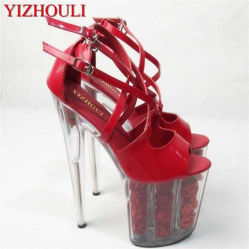 2cd906c1946de 20 cm rouge fleur de mariage chaussures femmes moto chaussures à talons  hauts 8 à la mode robe haute talons pôle danse sandales plate-forme