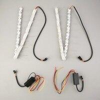 LED 12V 2pcs Car Flexible Waterproof Switchback LED Strip Eye Light For Headlight 16smd Dual Color