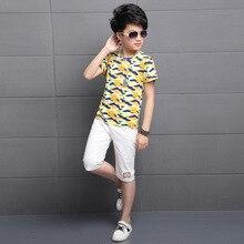 Kids boys summer 2 pcs set 2017 new baby boy clothing fashion camouflage T-shirt Capri pants suit 3/4/5/6/7/8/9/10/11/12/13/14