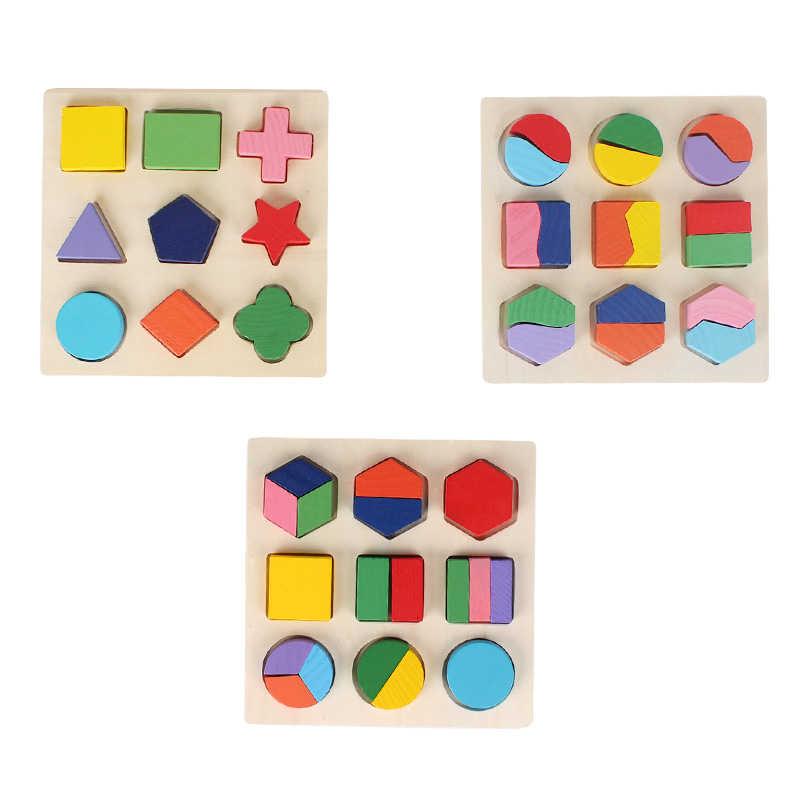 De los niños juguetes de madera geométrica de la educación juguete forma cognitiva puzle para Aprendizaje Temprano Juguetes