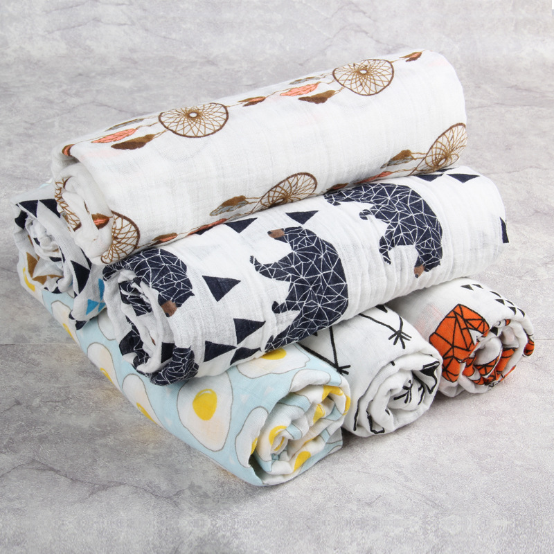 Newborn baby swaddle blanket 2 layers 120*120cm 100% cotton Muslin Gauze printing toddler bedding set