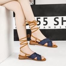 Купить с кэшбэком Ladies shoes summer shoes foot ring straps denim flat sandals cross straps flat sandals casual female student shoes shoes women