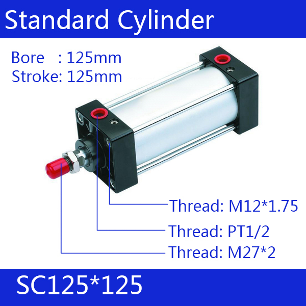 SC125*125 Standard air cylinders valve 125mm bore 125mm stroke single rod double acting pneumatic cylinder 125