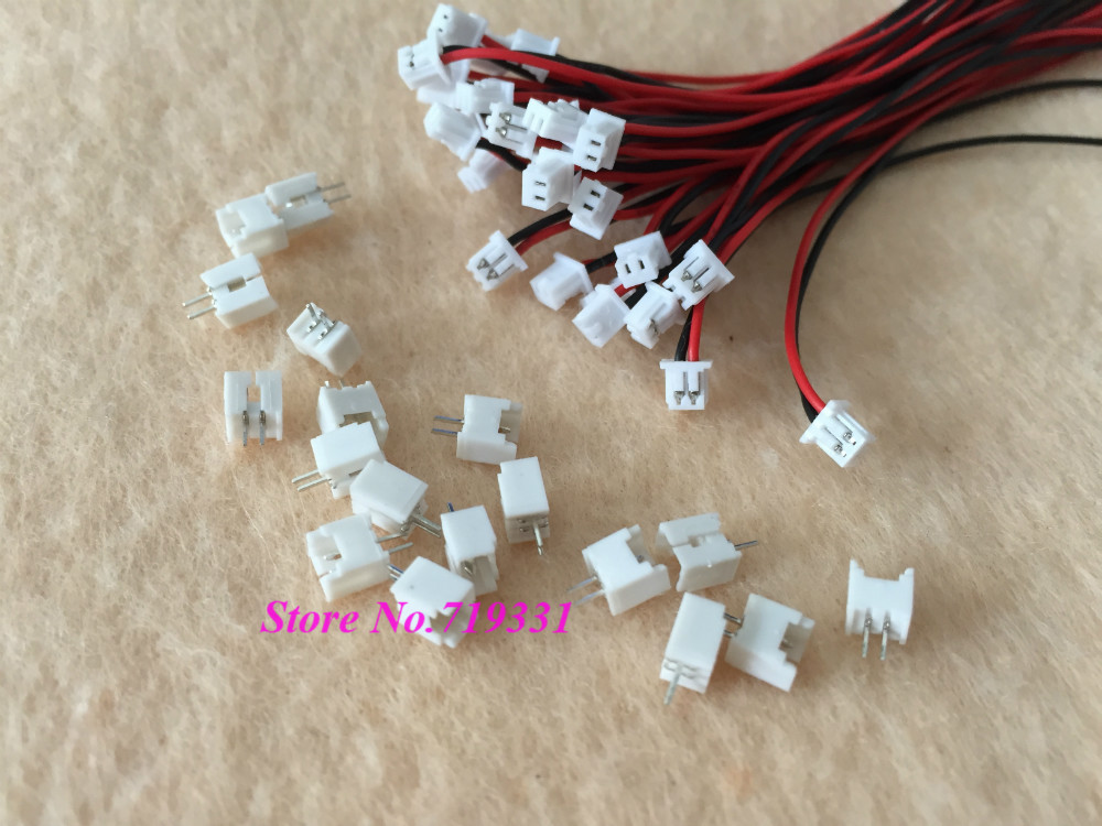20sets Micro JST 1.25 2-Pin Connector plug Male Female Connector w. Wire 2 sets micro jst sh 1 0mm 6 pin female connector with wire and male connector