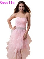 Pink High Low Homecoming Dresses Short Sweetheart Ruffles Organza Homecoming Gowns Beaded Ruffles Homecoming Cocktail Dresses
