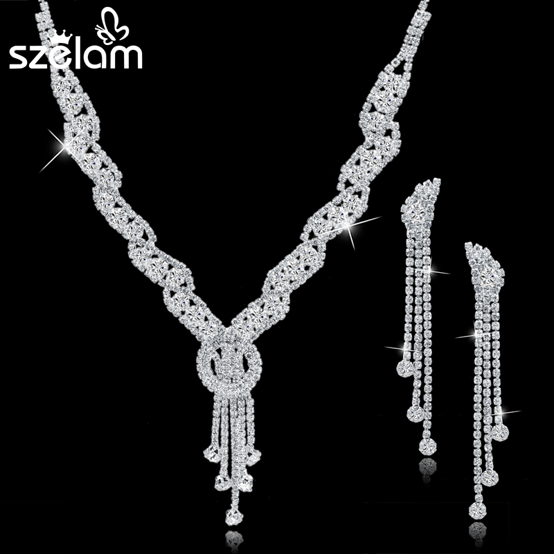 Szelam Femme Berlian Imitasi Wedding Jewelry Set Bridal Wanita Panjang Rumbai Kalung Anting Set Perhiasan Aksesoris SET150067