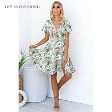Print Floral Summer Dress 2019 Woman Green Boho Beach Tunic Short For Women Wrap A Line