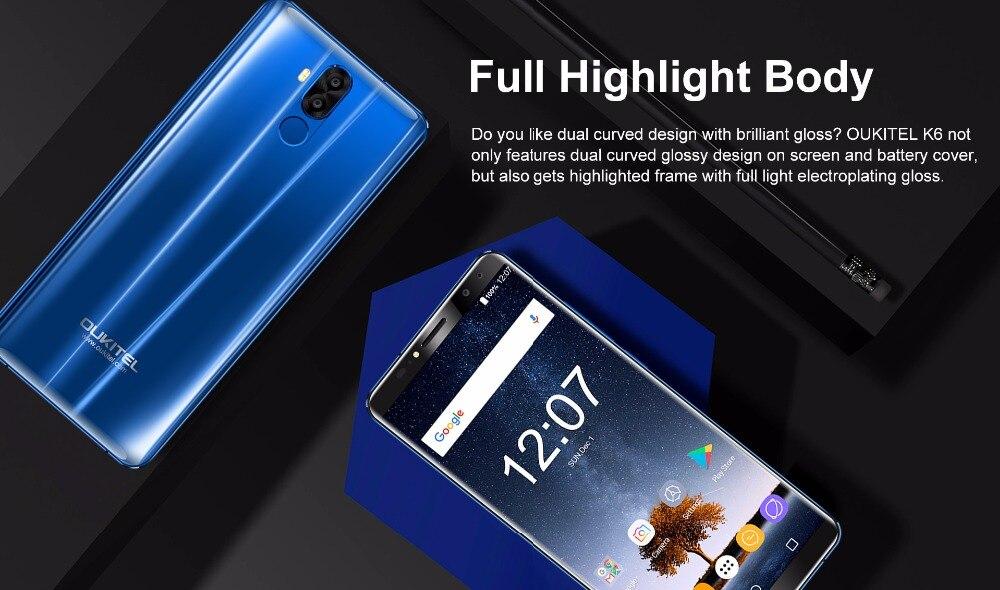 "HTB1gblih4TI8KJjSspiq6zM4FXaX - Original Oukitel K6 Face ID Smartphone 6300mAh 6.0"" 18:9 FHD+ MTK6763 6GB RAM 64GB ROM 5V/3A Quick Charge 4 Cameras Mobile Phone"