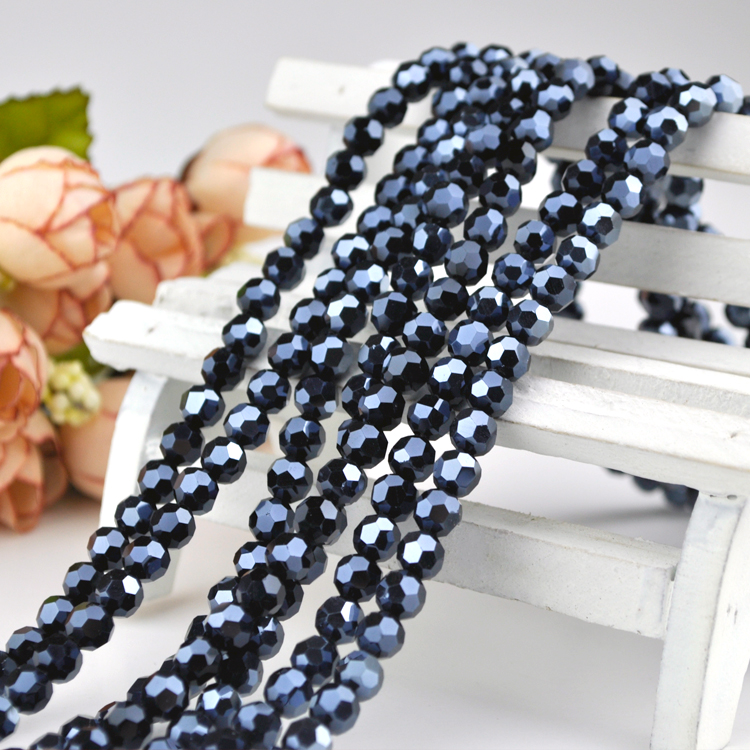 Wholesale Beads 715pcs/lot Dark Blue Plated Round Crystal Faceted Beads 8mm Glass Loose Spacer Bead For Jewelry Making Diy Beads