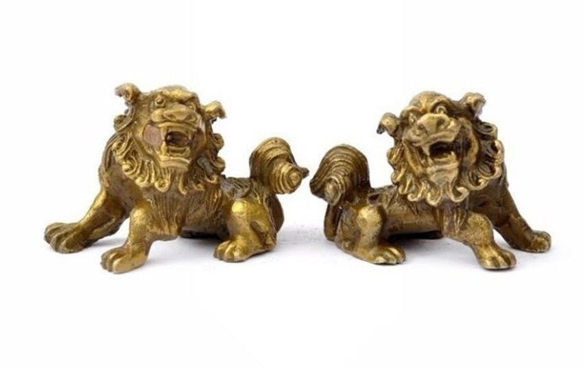 Lucky Chinese Fengshui Pure Brass Guardian Foo Fu Dog Lion Statue Pair free ship metal handicraft