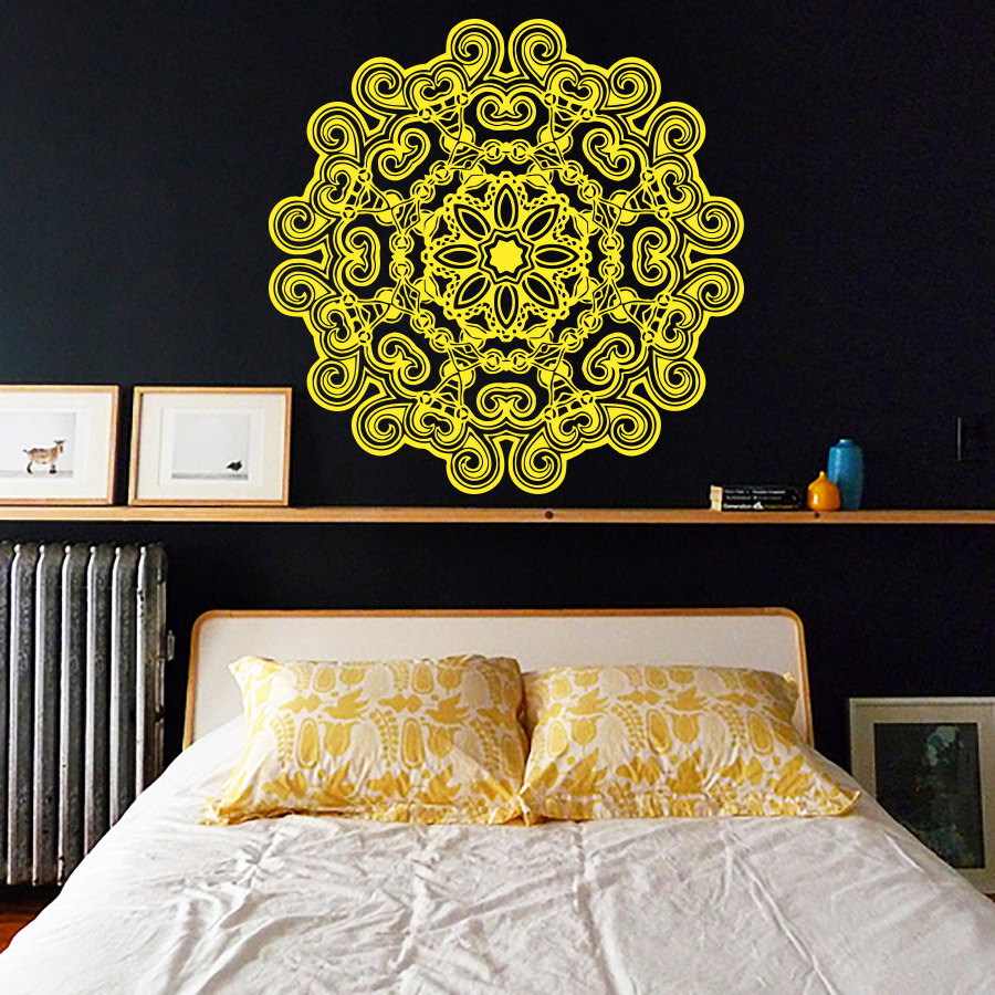 Yoga Mandala Flowers Patterned Wall Stickers Home Decor Bedroom ...