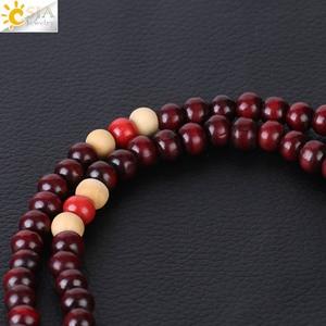 Image 5 - CSJA Religious 108 Mala Buddha Rosary Bracelet for Men 8mm Sandalwood Bead Prayer Jewelry Tibetan Wooden Bracelets Handmade S064