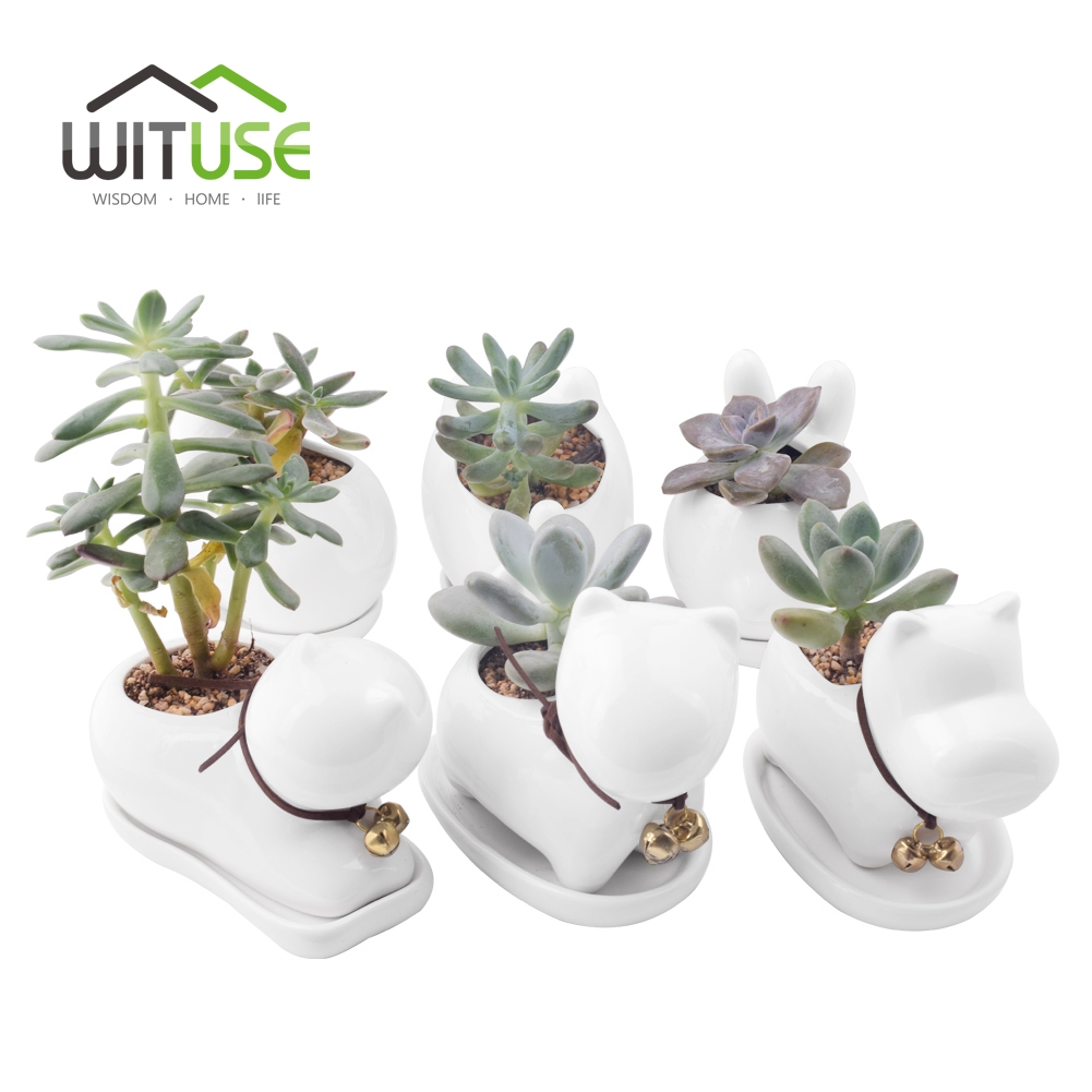 WITUSE 1pc Cute Novel Puppy Animal Potted Flowers Gardening Succulents Planter Pot White Ceramic Flowerpot Home decoration +Tray
