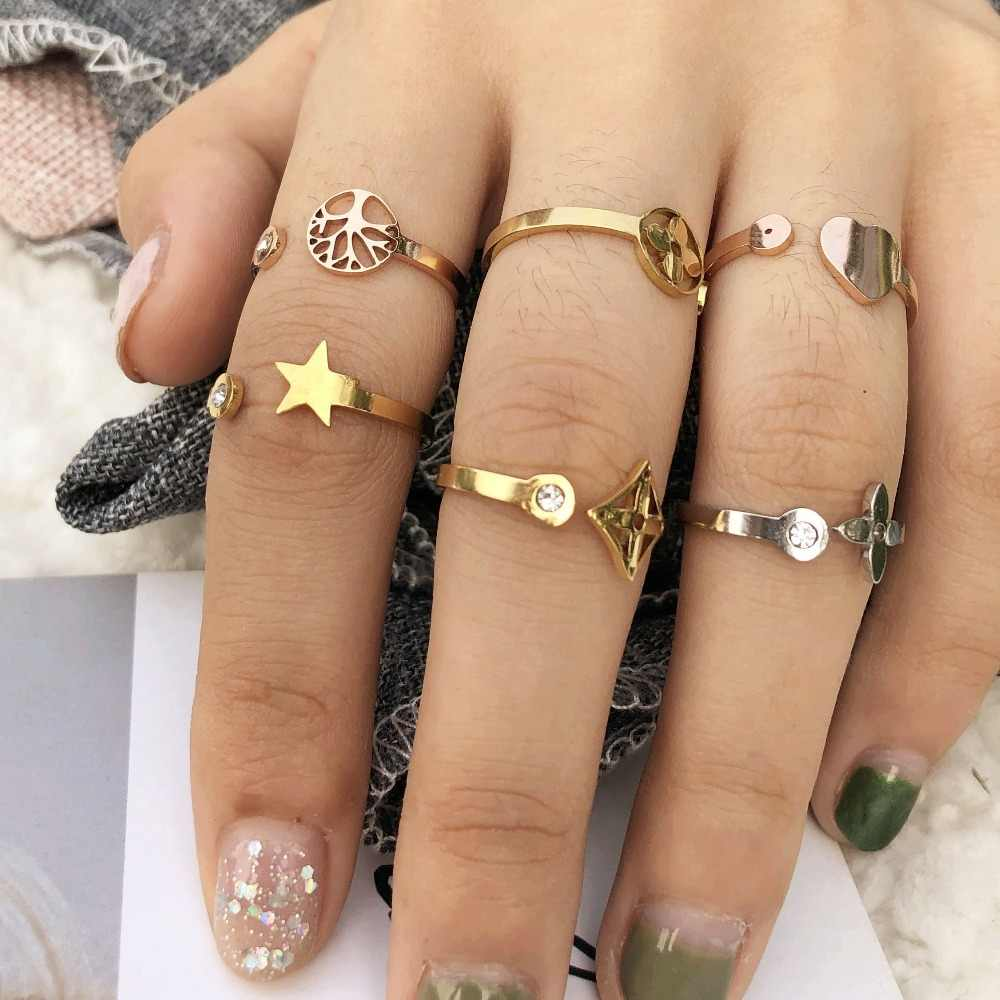 stainless steel Zircon ring wome ring engagement love life tree clover star ring opening female jewelry kpop ring set