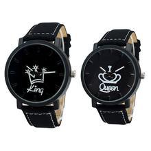 Новая пара Королева Король Корона Fuax Кожа Кварцевые аналоговые наручные часы хронограф вечерние часы с буквенным принтом королева KingQ пара часов