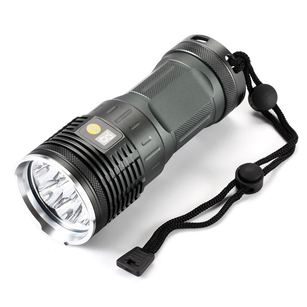 20000 Lumens Powerful LED Flashlight Torch Light 8x XM-L L2 18650 Tactical Flashlight handheld lights& 4x18650 batteries+Charger supfire 2000 lumens powerful led flashlight cree xm l t6 torch 30w tactical flashlight 4x18650 battery lanternas m6 torch