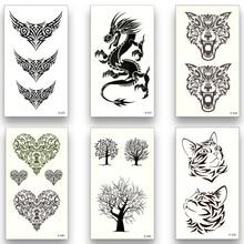 13 Gaya Temporary Tattoo Palsu Tahan Air Air Transfer Serigala rusa naga Kucing Pohon Indian bulu tengkorak tanduk Kecantikan Tubuh Art