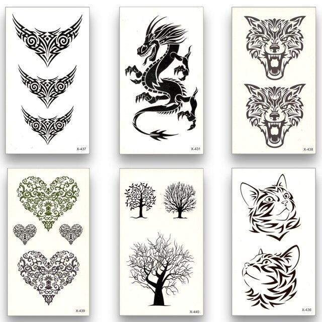 12 sheets Temporary Fake Tattoo Waterproof Water Transfer Wolf deer dragon Cat Tree skull antlers Stickers Cool Beauty Body Art