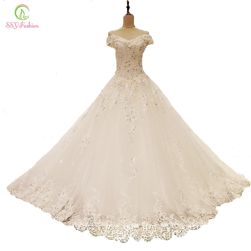 SSYFashion New Luxury Wedding Dresses The Bride Princess White Lace Embroidery Boat Neck A line Floor