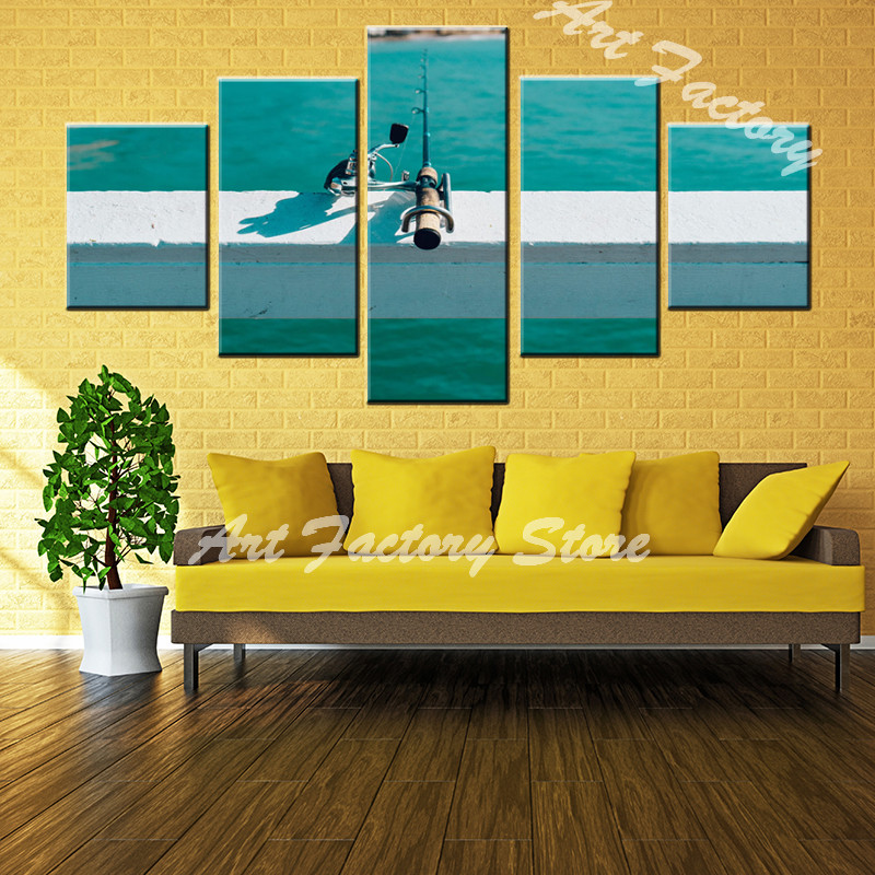 wholesale print HD 5 piece canvas painting go fishing landscape wall ...