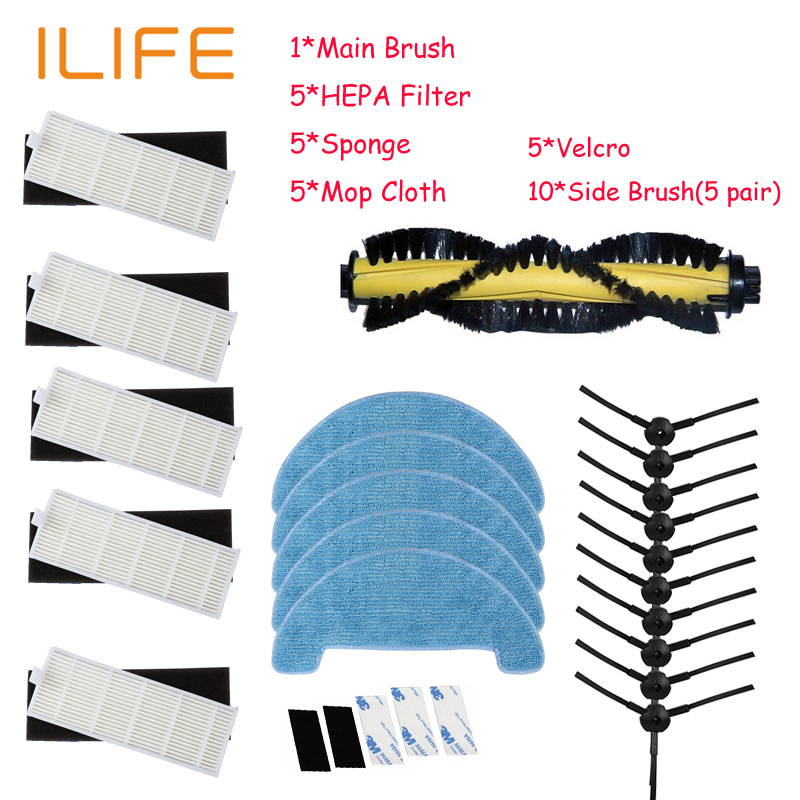 1*Main Brush+5*Filter+5*Sponge+10*Side Brush+5*Mop Cloth+5*Velcro for ILIFE A4 Robot Vacuum Cleaner Parts chuwi ilife a4 T4 forx5s robot vacuum cleaner side brush 4 main brush 1 rubber brush 1 mop cloth 2 hepa filter 2 primary filter 2 front wheel 2