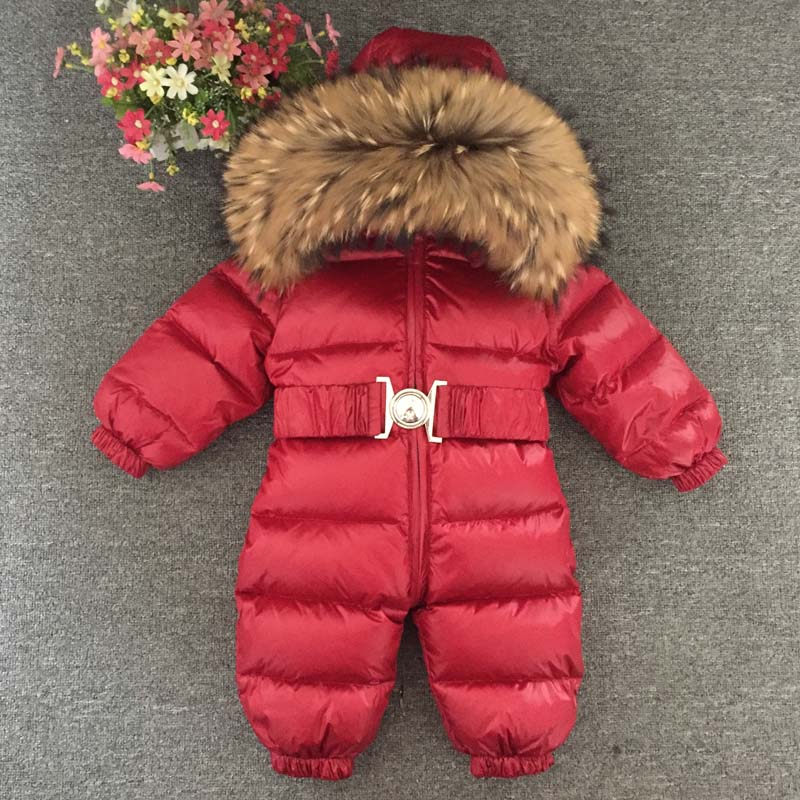 Boys Girls Winter Overalls Baby Jumpsuits Baby Rompers Duck Down Jumpsuit Real Fur collar Children Outerwear Kids Snowsuit children natural fur collar jackets jumpsuit overalls 2pc snowsuit kids down clothing suit boys girls ski sets dk006