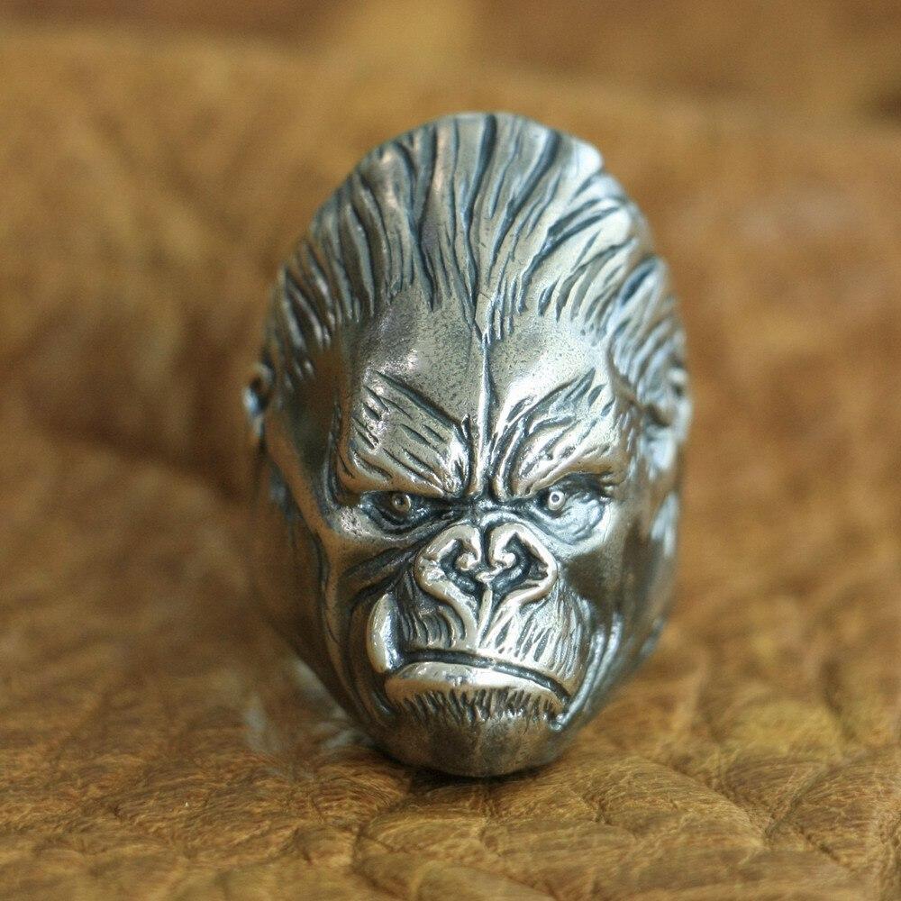 LINSION 925 Sterling Silver King Kong Ring Mens Biker Punk APE King Ring TA117 US Size 7~15LINSION 925 Sterling Silver King Kong Ring Mens Biker Punk APE King Ring TA117 US Size 7~15