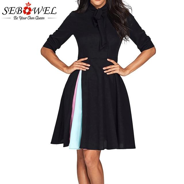0fb31ec2f786 SEBOWEL 80s Black White Bow Tie Vintage Skater Dress Women O-Neck Half  Sleeve A Line Dresses Female Short Dress Dance Wear S-XL