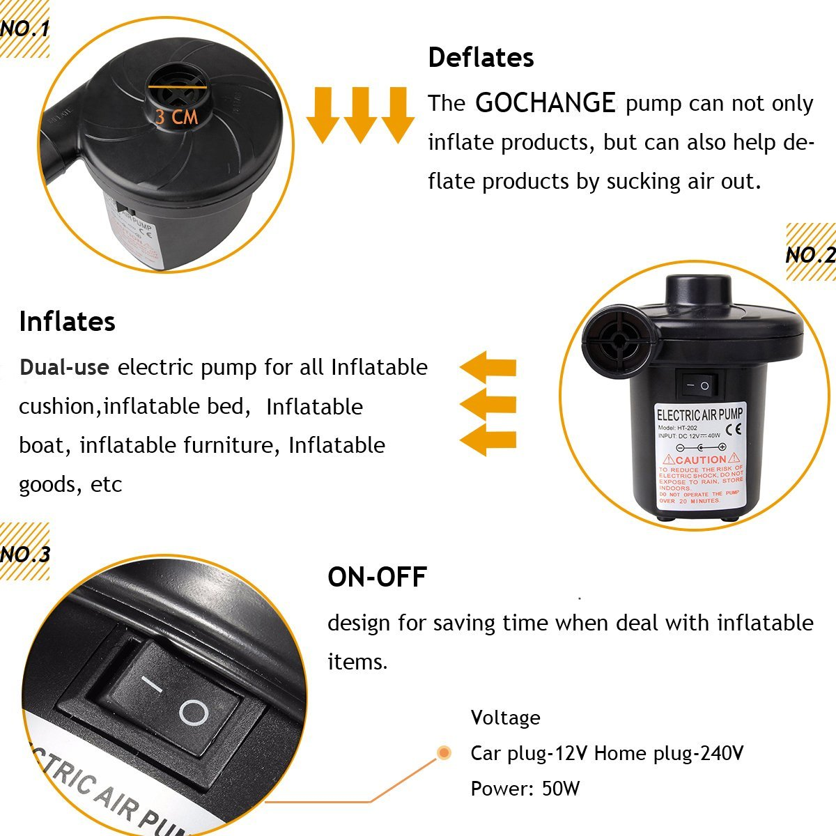 Image 3 - Electric Air Compressor IInflatable Pump DC12V/AC230V Portable Auto Tire Air Pump + 3 Nozzles  for Car Bicycles Motorcycles-in Inflatable Pump from Automobiles & Motorcycles
