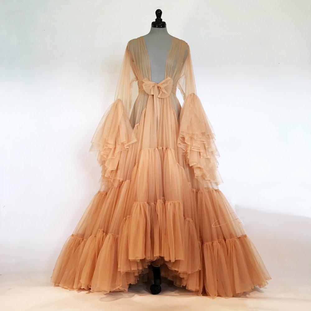 Bridal Boudoir Robe Bridal Tulle Illusion Sexy Trumpet Sleeves Long Costume Custom Made Mingli Tengda