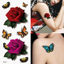 1Pcs 3D Waterproof Temporary Body Art Sleeve Stickers Glitter Tattoos Color Fake Small Flower Rose For Body Painting