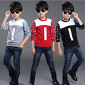 Baby Boys T-shirts Spring Autumn Fashion Letter Plaid Children Clothes Kids Long Sleeve O-Neck T-shirts Boy Tops Tees