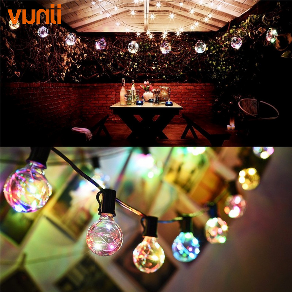 Vunji New 8M 1X25 G40 Christmas Led RGB String Light Colorful Garland fairy lights for Wedding/Party/Xmas Outdoor Decorative