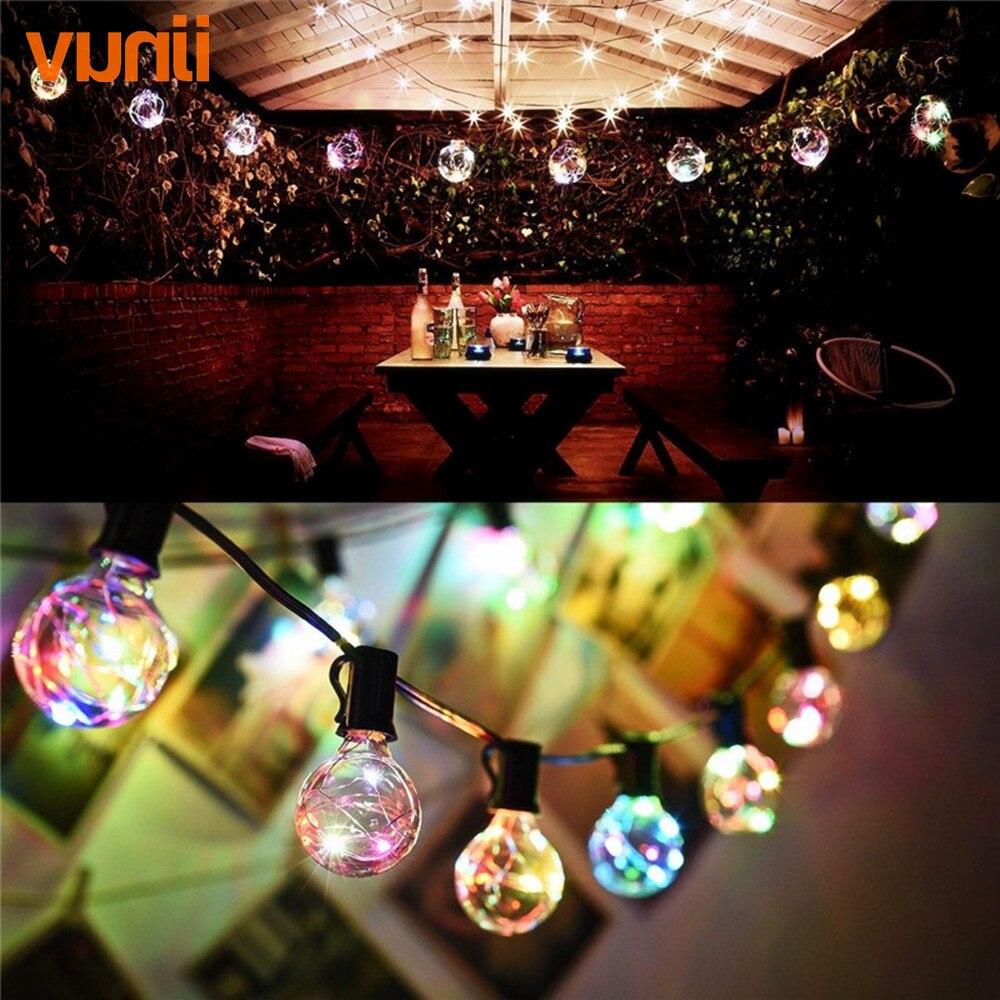 Vunji New 8M 1X25 G40 Christmas Led RGB String Light Colorful Garland fairy lights for Wedding/Party/Xmas Outdoor Decorative