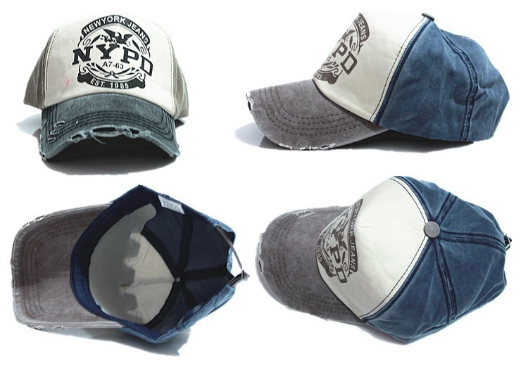 NYPD Worn Style Baseball Cap - Blue Cap Multiple Views